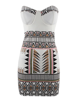 Ericdress Boho Strapless Print Bodycon Dress