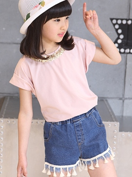 Ericdress Sequins Short Sleeve Girls T-Shirt