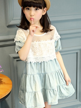 Ericdress Lace Patchwork Short Sleeve Girls Dress