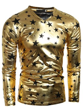 Ericdress Golden Star Print Unique Slim Men's T-Shirt