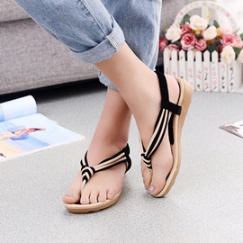 Ericdress Roman Patchwork Clip Toe Flat Sandals
