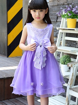 Ericdress Sleeveless Bowknot Girls Dress