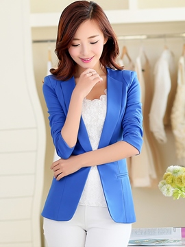 Ericdress Solid Color Buckle Blazer