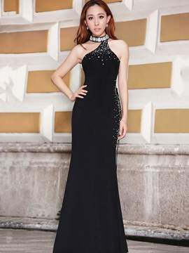 Ericdress Halter Beading Hollow Sheath Evening Dress