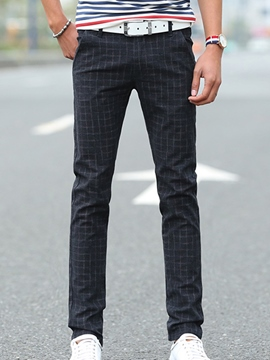 Ericdress Plaid Straight Slim Vogue Men's Pants