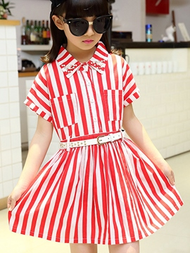 Ericdress Stripe Lapel Girls Dress