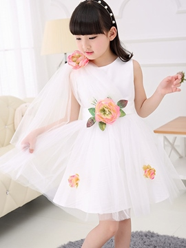Ericdress Sleeveless Mesh Girls Dress