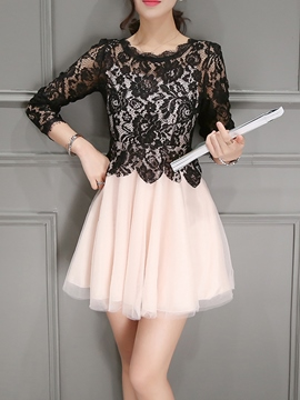 Ericdress Lace Patchwork A-Line Casual Dress