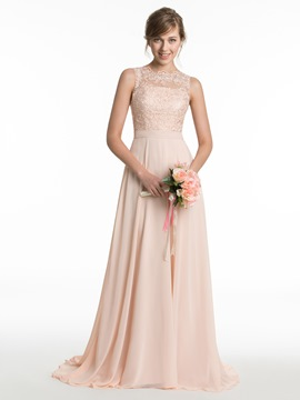 Ericdress Beautiful Jewel Lace A Line Long Bridesmaid Dress