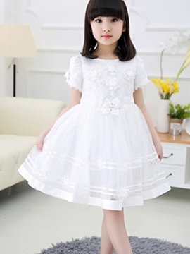 Ericdress Short Sleeve Mesh Girls Dress