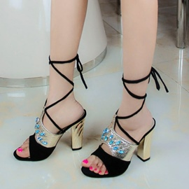 Ericdress Rhinestone Lace-Up Chunky Sandals