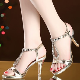 Ericdress Open Toe T-Shaped Buckle Rhinestone Stiletto Sandals