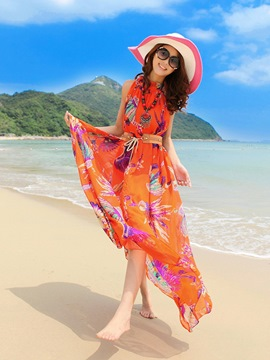 Ericdress Boho Print Sleeveness Expansion Maxi Dress