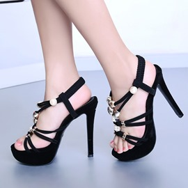 Ericdress Open Toe Beading Platform Stiletto Sandals