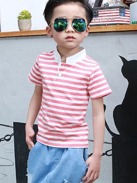 Ericdress Stripe Stand Collar Boys T-Shirt