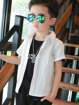 Ericdress Solid Color Short Sleeve Boys Shirt