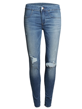 Ericdress Slim Ripped Plain Jeans