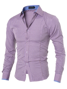 Ericdress Plaid Simple Slim Men's Shirt