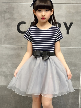 Ericdress Stripe Patchwork Bowknot Girls Dress