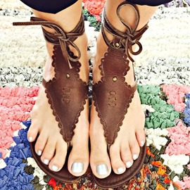 Ericdress Retro Cross Strap Lace-Up Thong Flat Sandals