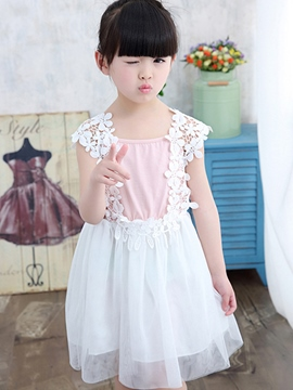 Ericdress Lace Patchwork Scoop Girls Dress