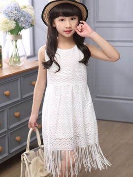Ericdress Sleeveless Tassel Girls Dress