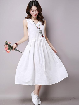 Ericdress Mori Girl Loose Cotton Plain Casual Dress