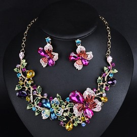 Ericdress Exaggerate Crystal Floral Jewelry Set