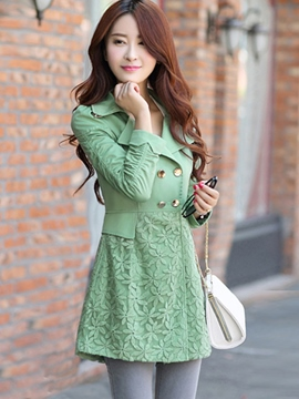 Ericdress Elegant Lace Patchwork Trench Coat