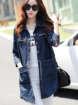 Ericdress Solid Color Loose Denim Outerwear