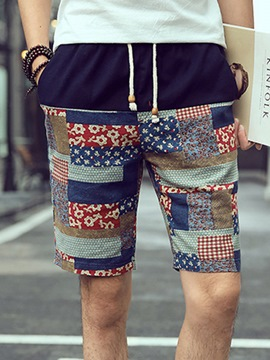 Ericdress Lace-Up Vintage Print Casual Men's Shorts