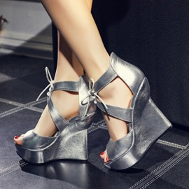 Ericdress Charming Open Toe Sequin Lace-Up Wedge Sandals