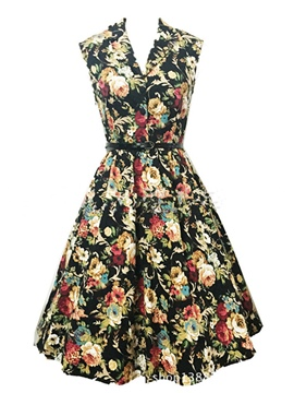 Ericdress Vintage Print Expansion Casual Dress