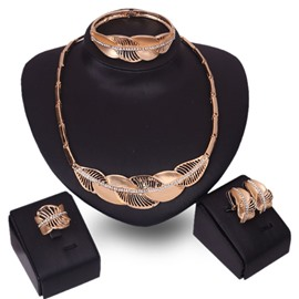 Ericdress Golden Alloy Leaves Design Jewelry Set