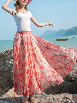 Ericdress Expansion Floral Print Maxi Skirts