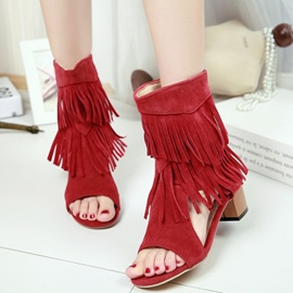 Ericdress Open Toe Tassel Back-Zip Chunky Sandals