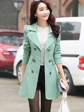 Ericdress Elegant Solid Color Double-Breasted Trench Coat