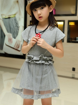 Ericdress Short Sleeve Mesh Girls Outfit