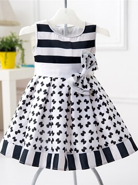 Ericdress Stripe Bowknot Girls Dress