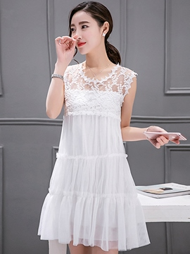 Ericdress Lace Patchwork Sleeveless Hollow Casual Dress