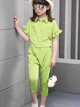 Ericdress Solid Color Girls Outfit