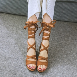 Ericdress Open Toe Lace-Up Cross Strap Chunky Sandals