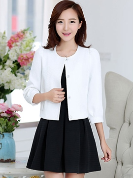 Ericdress Simple Elegant Solid Color Puff Sleeve Blazer