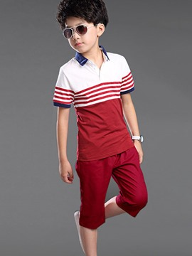 Ericdress Casual Stripe Boys Shorts Outfit