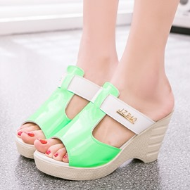 Ericdress Pu Patchwork Mules Shoes