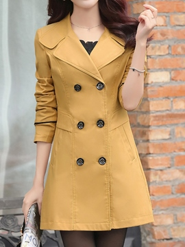 Ericdress OL Solid Color Double-Breasted Trench Coat