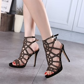 Ericdress Sexy Cut Out Rhinestone Stiletto Sandals