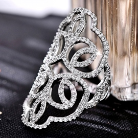 Ericdress Graceful Silver Plated Rhinestones Ring