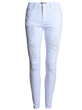 Ericdress Solid Color Slim Ripped Jeans