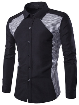 Ericdress Color Block Long Sleeve Regular Slim Men's Shirt